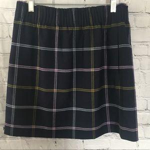 J. Crew navy blue window pane plaid skirt size 8